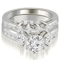 3.10 cttw. 14K White Gold Channel Set Princess and Round Cut Diamond Bridal Set - Thumbnail 0