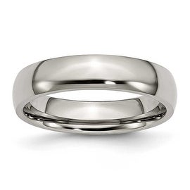 Chisel Rounded Polished Titanium Ring (5.0 mm)