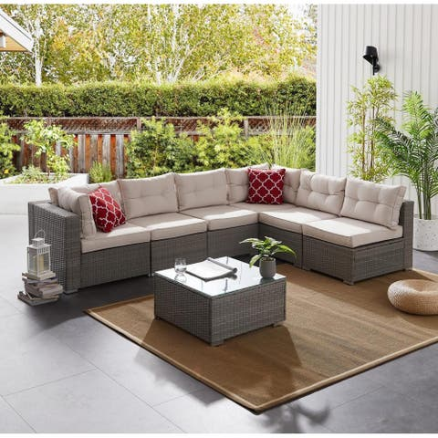 BestLiving 7 Piece Sofa Seating Group with Cushions, Gray, L Corner