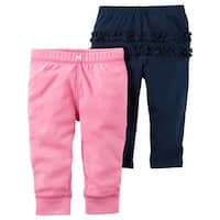 Carter's Baby Girls' 2-Pack Pants Blue/Pink, 3 Months - 3 Months