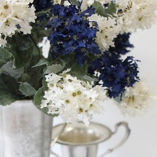 """G Home Collection Luxury Silk 7 Small Hydrangea Bloom Bush in Blue and White 19"""" Tall"""
