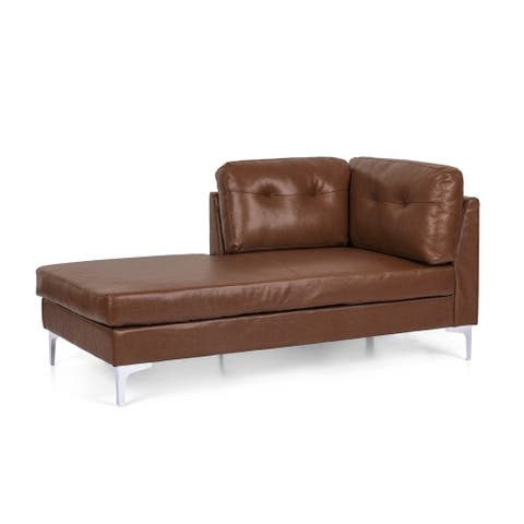 """Jimes Contemporary Upholstered Chaise Lounge by Christopher Knight Home - 33.00"""" L x 63.00"""" W x 31.50"""" H"""