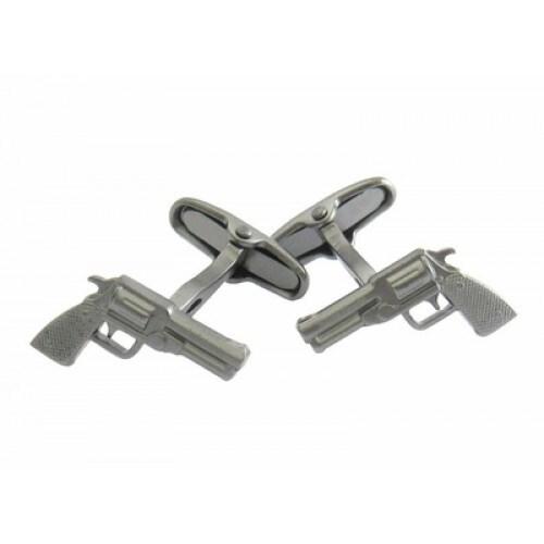 Revolver Gun Cufflinks In Gun Metal