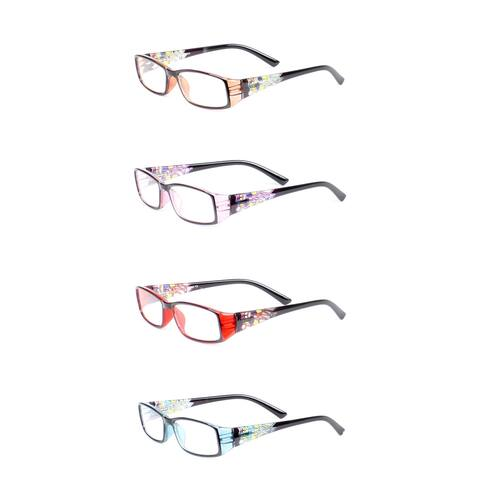 Womens Stain Glass Reading Glasses - 4 Pair Pack - purple / brown / red / turquoise