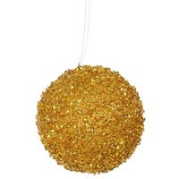 "3ct Antique Gold Sequin and Glitter Drenched Christmas Ball Ornaments 4.75"" (120mm)"
