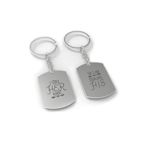 I Stole Her Heart, So I'm Stealing His Couple Key Chain Set - Engraved Key Rings