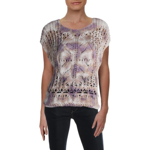 Free People Womens Diamond In The Rough Sweater Vest Relaxed Short Sleeves - Multicolor