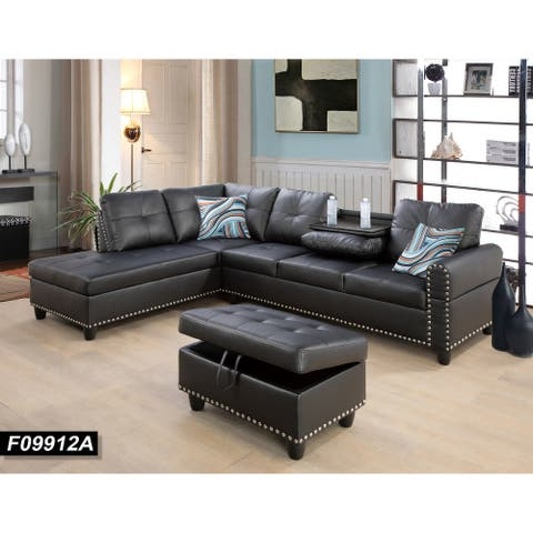 Sectional Sofa Set/w Drop Down Table,Left Facing,Black Leather(9912A)