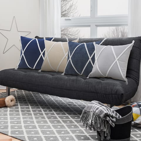 Coastal Geometric Braided and Tasseled Throw Pillow