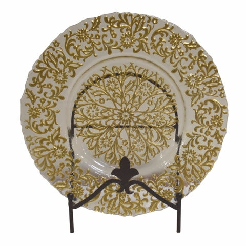 Elegantly Stylish Glass Charger Plate, Clear And Gold