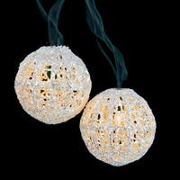 Set of 10 Miniature Sparkly White Ball Party Christmas Lights - Green Wire
