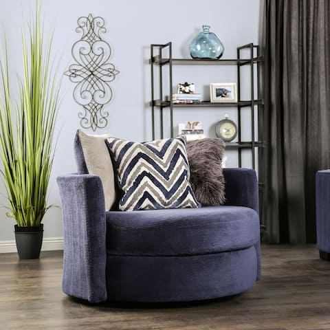 Furniture of America Slaren Transitional Navy Microfiber Swivel Chair