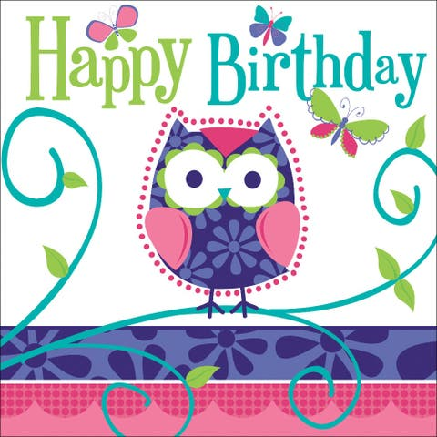 """Club Pack of 192 Owl Pal Birthday Premium 3-Ply Disposable Lunch Napkins 6.5"""" - N/A"""