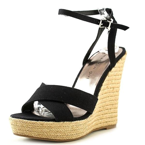Madden Girl Viicki Women Open Toe Canvas Black Wedge Sandal