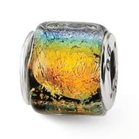 Sterling Silver Reflections Rainbow Dichroic Glass Bead (4mm Diameter Hole)