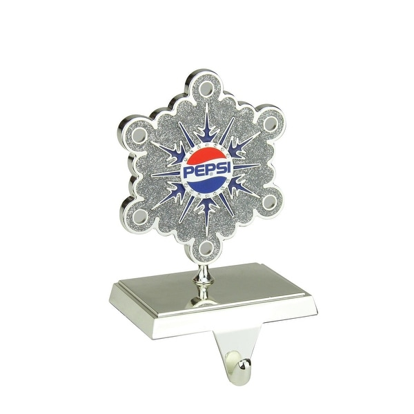 """6.5"""" Silver Plated Pepsi Snowflake Christmas Stocking Holder with European Crystals"""