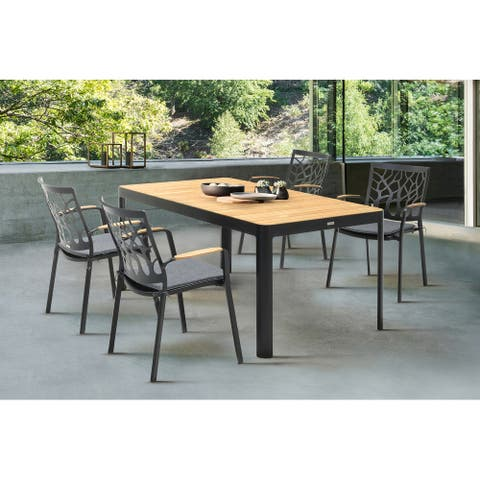 Portals Outdoor 5 piece Dining Table Set in Black Finish with Cushion Chairs and Natural Teak Wood Accent Top