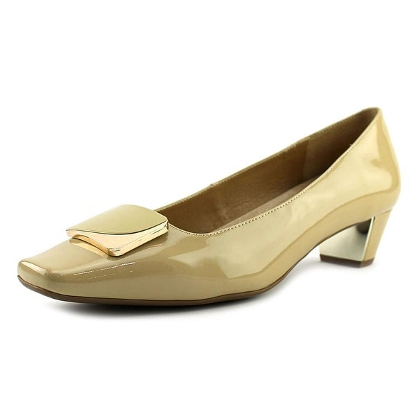 Vaneli Latham Women Square Toe Patent Leather Nude Heels