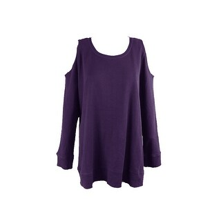 Style & Co. Plus Size Purple Cold-Shoulder Thermal Top 1X