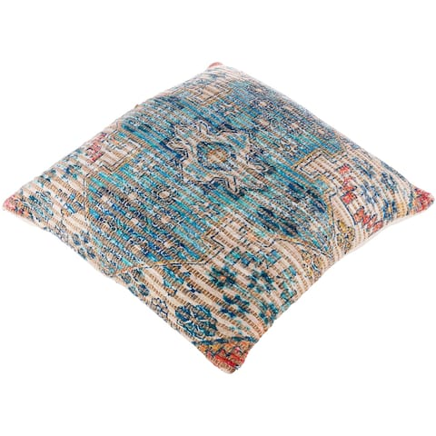 The Curated Nomad Lasuen Vibrant Woven Jute 26-inch Floor Pillow with Poly or Down Fill