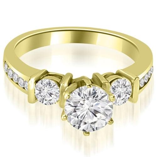 1.10 cttw. 14K Yellow Gold Bar Set Round Cut Diamond Engagement Ring