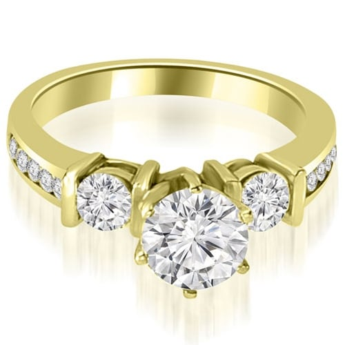 1.60 cttw. 14K Yellow Gold Bar Set Round Cut Diamond Engagement Ring