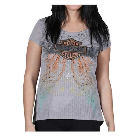 Harley-Davidson Women's Embellished Classy But Sassy Short Sleeve Tee, Knit Gray