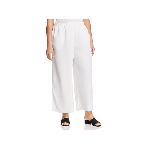Eileen Fisher Womens Plus Ankle Pants Tencel Pull On