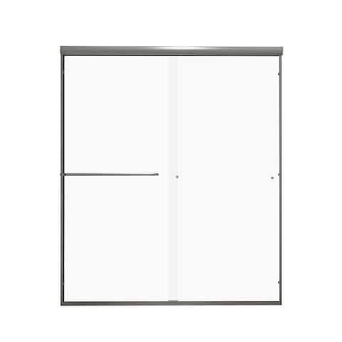 """60""""W x 70""""H Single sliding framed shower door In Brush Titanium"""