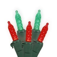 Set of 70 Red and Green LED M5 Mini Christmas Lights - Green Wire