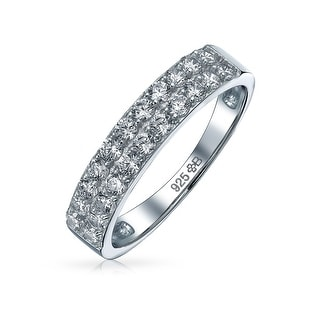 Link to Pave AAA CZ Anniversary Wedding Band Ring 925 Sterling Silver 3MM Similar Items in Rings