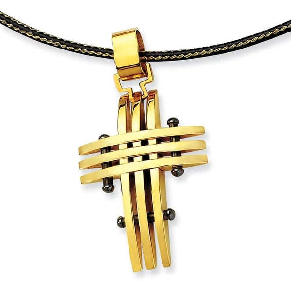 Chisel Stainless Steel Gold Color IP-plated Cross Pendant Necklace (2 mm) - 16 in