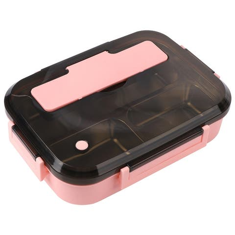Bento Box Stainless Steel Removable Tray with Utensils Leakproof Lid