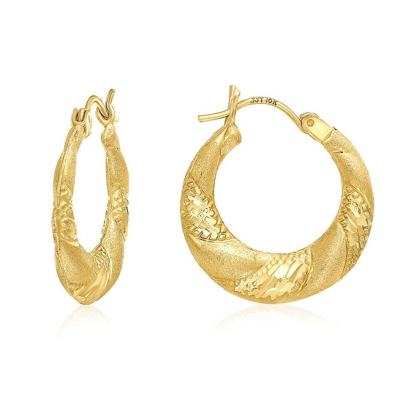 Mcs Jewelry Inc 10 KARAT YELLOW GOLD HOOP EARRINGS WITH DESIGN 21MM