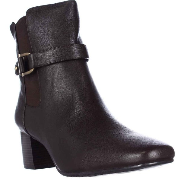 Bandolino Lorillar Side Buckle Dress Booties, Dark Brown/Dark Brown