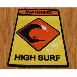"Dean Miller High Surf Children Rug Black Orange Yellow Base Color Kids Rug Children's 31""X47 Rug Carpet"