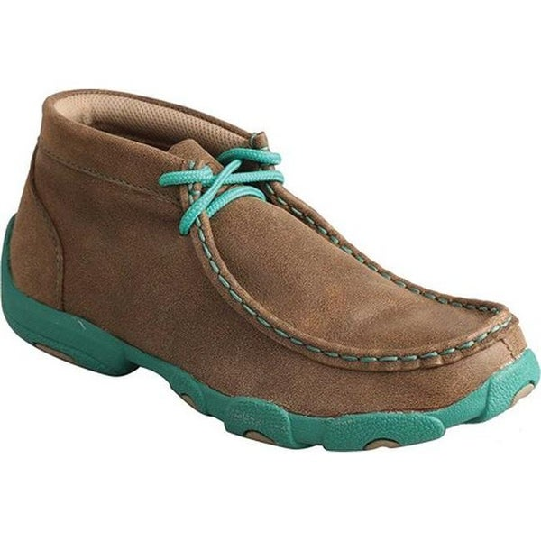 Twisted X Boots Children's CDM0005 Driving Moc Bomber/Turquoise Leather