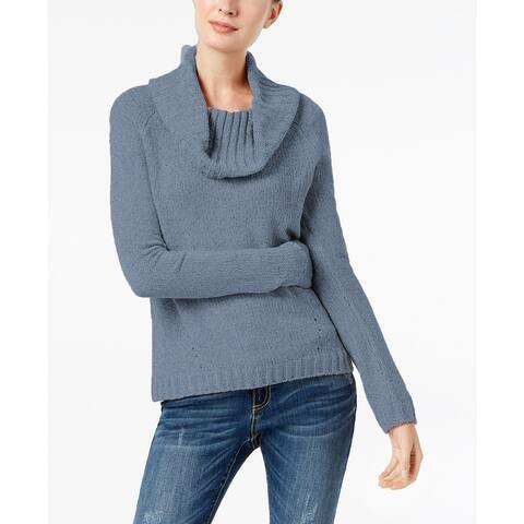 INC International Concepts Women's Cowl-Neck Chenille Sweater Blue Size 2 Extra Large