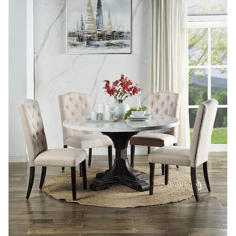 ACME Gerardo Dining Table in White Marble and Weathered Espresso