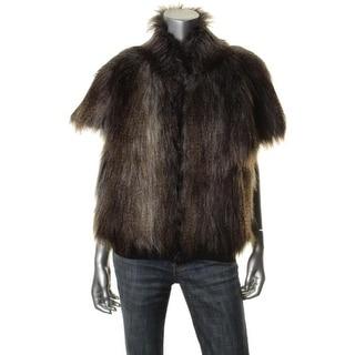 Dolce Vita Womens Faux Fur Banded Bottom Cape Coat - m/l