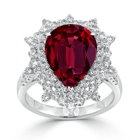 Auriya 7 1/6ct Pear-cut Red Ruby and Halo Diamond Ring 1 1/4ctw 18K Gold