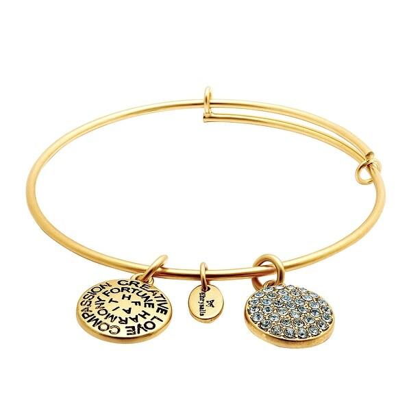 Chrysalis Expandable December Bangle Bracelet with Sky Blue Swarovski Crystals in 14K Gold-Plated Brass