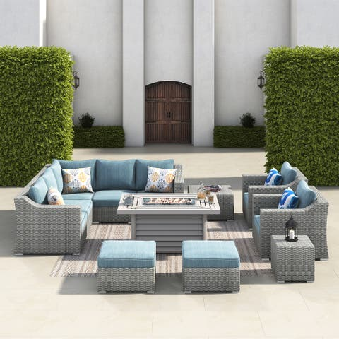 Corvus Martinka 12pc Outdoor Grey Wicker Fire Pit Sectional Sofa Set