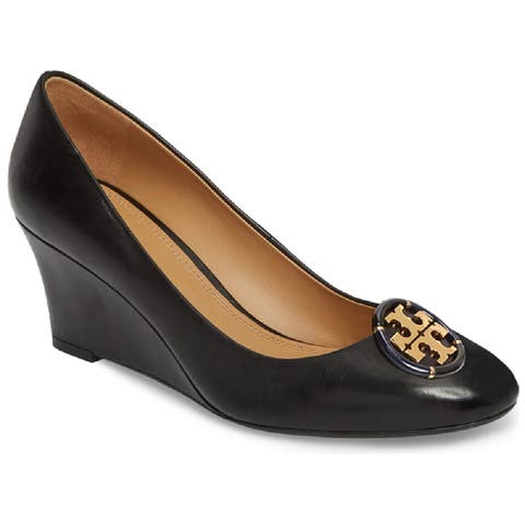 Tory Burch Womens Black Logo 65MM Wedge Shoes