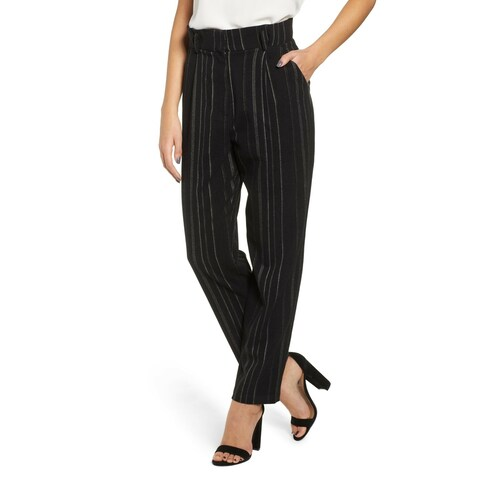 Leith Black Womens Size 4X Plus Striped Belted Paperbag Dress Pants