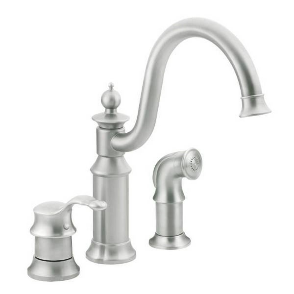 Moen S711CSL Waterhill One Handle High Arc Kitchen Faucet Classic Stainless - classic stainless finish