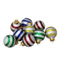 """27-Piece Multi-Color Mini Glitter Glass Ball Christmas Ornament Set 1.25"""" - Multi"""