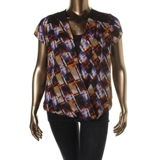 NY Collection Womens Lace Overlay Printed Blouse