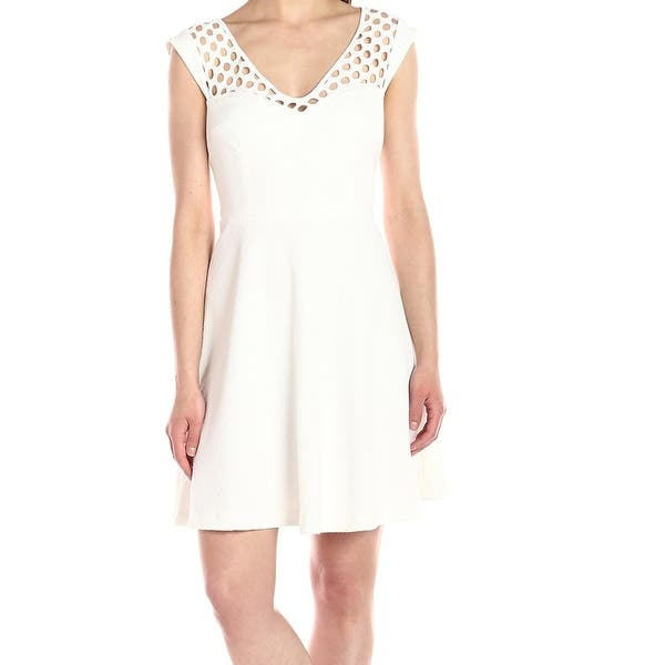Betsey Johnson White Ivory Womens 12 Textured Lace A Line Dress