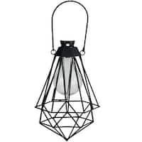 "7"" Black Geometric Solar Powered LED Outdoor Patio Metal Lantern"